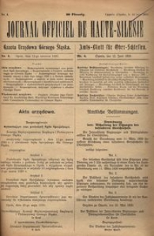 Journal Officiel de Haute-Silesie, 1920, nr 4