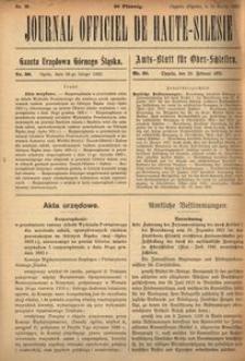 Journal Officiel de Haute-Silesie, 1922, nr 30