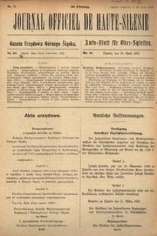 Journal Officiel de Haute-Silesie, 1922, nr 31