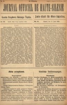 Journal Officiel de Haute-Silesie, 1922, nr 35