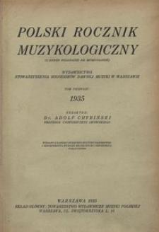 Polski Rocznik Muzykologiczny, 1935, t. 1
