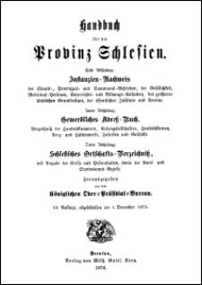 Handbuch für die Provinz Schlesien