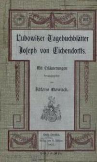 Lubowitzer Tagebuchblätter Joseph von Eichendorffs