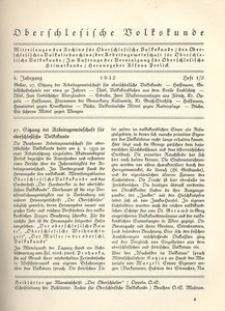 Oberschlesische Volkskunde, 1932, Jg. 4, H. 1/3