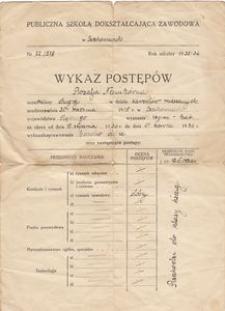 Publiczna szkoła dokształcająca zawodowa w Czechowicach. Wykaz postępów 1936 r
