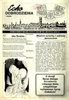 Echo Dobrodzienia i Okolic : pismo samorządu i mieszkańców miasta i gminy Dobrodzień 1993, nr 4.