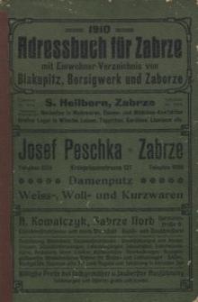 Adressbuch für Zabrze 1910 mit Einwohnerverzeichnis von Biskupitz, Borsigwerk und Zaborze