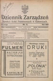 Dziennik Zarządzeń Dyrekcji Kolei Państwowych w Katowicach, 1929, Nr. 2