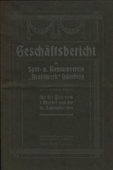 """Geschäftsbericht des Spar- u. Konsumverein """"Drahtwerk"""" Oderberg registrierte Genossenschaft mit beschränkter Haftung für..., 1909/1910"""