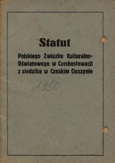 Statut Polskiego Związku Kulturalno-Oświatowego w Czechosłowacji z siedzibą w Czeskim Cieszynie