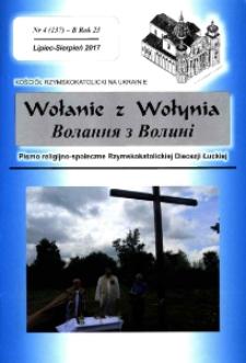 Wołanie z Wołynia : pismo religijno-społeczne Rzymskokatolickiej Diecezji Łuckiej (B). R. 23, nr 4 (137).