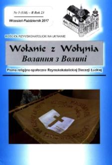 Wołanie z Wołynia : pismo religijno-społeczne Rzymskokatolickiej Diecezji Łuckiej (B). R. 23, nr 5 (138).