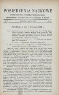 Posiedzenia Naukowe Państwowego Instytutu Geologicznego, 1922, nr 4