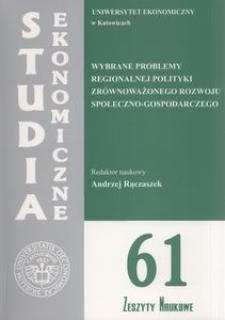 Wybrane problemy regionalnej polityki zrównoważonego rozwoju społeczno-gospodarczego