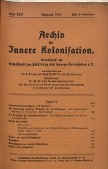 Archiv für Innere Kolonisation, 1930, Bd. 22, H. 9