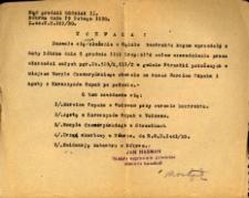 Uchwała z dnia 19 lutego 1930 roku zezwalajaca na zmianę prawa własności.