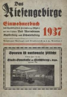 Adressbuch / Einwohnerbuch für den Landkreis Hirschberg mit den Städten Bad Warmbrunn, Kupferberg, Schmiedeberg und allen Gemeinden 1937