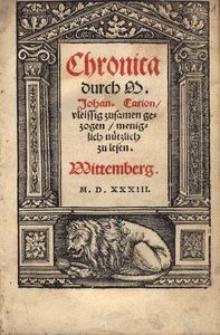 Chronica [...] vleissig zusamen gezogen, meniglich nützlich zu lesen