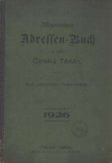 Allgemeines Adressen-Buch der Stadt Český Těšín, 1926