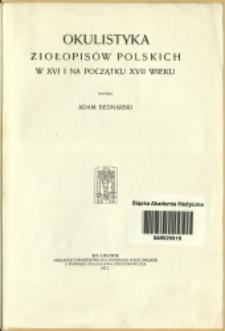 Okulistyka ziołopisów polskich w XVI i na początku XVII wieku