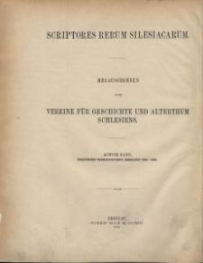 Scriptores rerum silesiacarum. Bd. 8, Politische Correspondenz Breslaus im Zeitalter Georgs von Podiebrad : zugleich als urkundliche Belege zu Eschenloers Historia Wratislaviensis. 1. Abt., 1454-1463