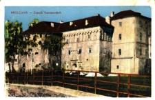 Brzeżany. Zamek Sieniawskich z dobrze widocznymi militarnymi cechami baszty Baniastej.