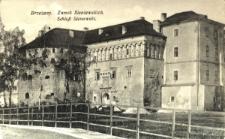 Brzeżany. Zamiek Sieniawskich po I wojnie światowej z prowizorycznym mostem drewnianym.