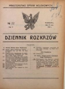 Dziennik Rozkazów, 1922, R. 5, nr 22