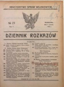 Dziennik Rozkazów, 1922, R. 5, nr 23