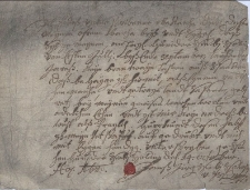 Oświadczenie Jana Jerzego Szebiszowskiego z Szinowic z 14.10.1680 r., że w okresie od 01.07 do 30.09.1680 w swojej wsi Dolne Szobiszowice nie szynkował żadnej wódki