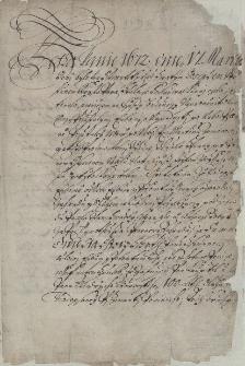 Odpis aktu kupna zagrody na Liburni od spadkobierców zmarłego Marcina Zemana przez Szymona Niedielę, wójta miejskiego w Cieszynie, sporządzony 18.03.1672 r., następnego dnia po dokonaniu transakcji