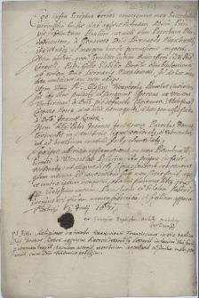Oświadczenie proboszcza z Cierlicka Jerzego Baptysty Orlika z 3.07.1671 r. o przypadkach pobicia duchownych katolickich w parafiach w Błędowicach, Karwinie, Domasłowicach i w Cierlicku przez miejscową szlachtę