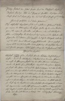 Odpis pisma biskupa wrocławskiego Filipa Gottharda von Schaffgotscha z 7.12.1785 przekazującego treść decyzji Gubernium morawsko-śląskiego z 9.11.1785 na temat zasad przekazywania przez duchownych pieniędzy parafialnych swoim następcom