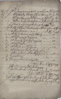 Zestawienie kosztów pogrzebu Anny Róży Maluchowej, z domu Frankowej z 13.10.1710 r. oraz oświadczenie cieszyńskiego proboszcza Gallusa Jana Twaruszki w sprawie rozliczeń z tego tytułu