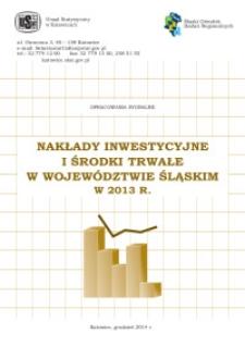 Nakłady inwestycyjne i środki trwałe w województwie śląskim w 2013 r.