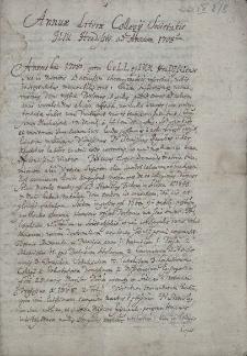 Annuae Literae Collegii Societatis Jesu Hradisstii ad Annum 1708um