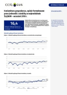 Koniunktura gospodarcza, opinie sformułowane przez jednostki z siedzibą w województwie śląskim - Wrzesień 2018