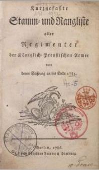 Kurzgefaßte Stamm- und Rangliste ... von deren Stiftung an bis Ende 1785 -  Silesian Digital Library