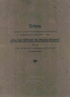 """Odpis urzędowego dziennika Komisji Międzysojuszniczej Rządzącej i Plebiscytowej na Górnym Śląsku w Opolu """"Journal Officiel de Haute-Silesie"""" Nr 21 z dnia 7-go maja 1921 r., zawierającego wyniki plebiscytu na Górnym Śląsku"""
