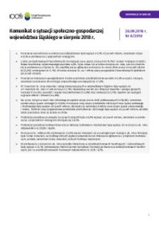 Komunikat o sytuacji społeczno-gospodarczej województwa śląskiego, 2018, nr 8 [Tablice]