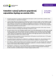 Komunikat o sytuacji społeczno-gospodarczej województwa śląskiego, 2018, nr 9 [Tablice]