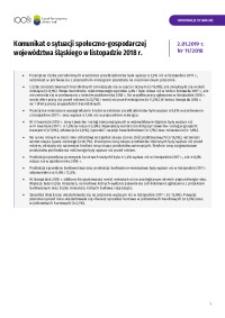 Komunikat o sytuacji społeczno-gospodarczej województwa śląskiego, 2018, nr 11 [Tablice]