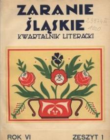 Zaranie Śląskie, 1930, R. 6, z. 1