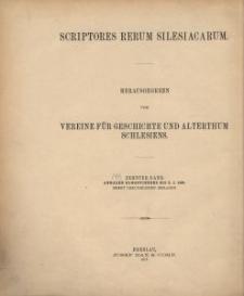 Scriptores rerum silesiacarum. Bd. 10, Annales Glogovienses bis z. j. 1493. Nebst urkundlichen Beilagen