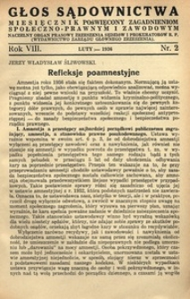 Głos Sądownictwa, 1936, R. 8, nr 2