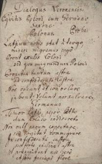 Dialogus Veronensis Equitis Poloni cum Germano Saxone