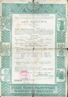 Akt nadania nieruchomości z 1947 r.