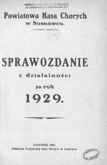 Sprawozdanie z działalności za rok 1929