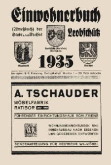 Adreßbuch, Einwohnerbuch der Stadt und des Kreises Leobschütz OS. mit den Städten Bauerwitz und Katscher und allen Gemeinden aus dem Kreis.