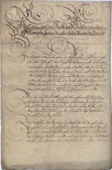 Reskrypt cesarza Ferdynanda III do barona Kaspra Borka z Rostropic, starosty ziemskiego księstwa cieszyńskiego, datowany Regensburg 4.05.1654, zakazujący, aby sieroty ze szlacheckich katolickich rodzin były wychowywane przez protestanckich opiekunów